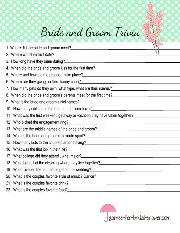 Free Printable Bride And Groom Trivia Quiz