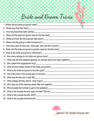 Bride and groom trivia printable in mint color