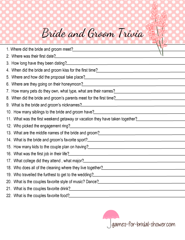 picture regarding Free Printable Bridal Shower Games How Well Do You Know the Bride identified as Cost-free Printable Bride and Groom Trivia Quiz