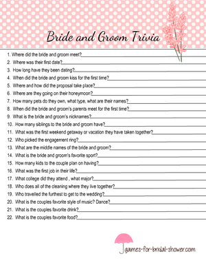 Free printable bride and groom trivia