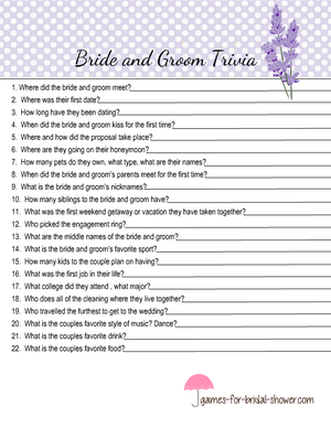 Free printable bride and groom trivia quiz in lilac color