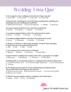 Wedding trivia quiz printable in lilac