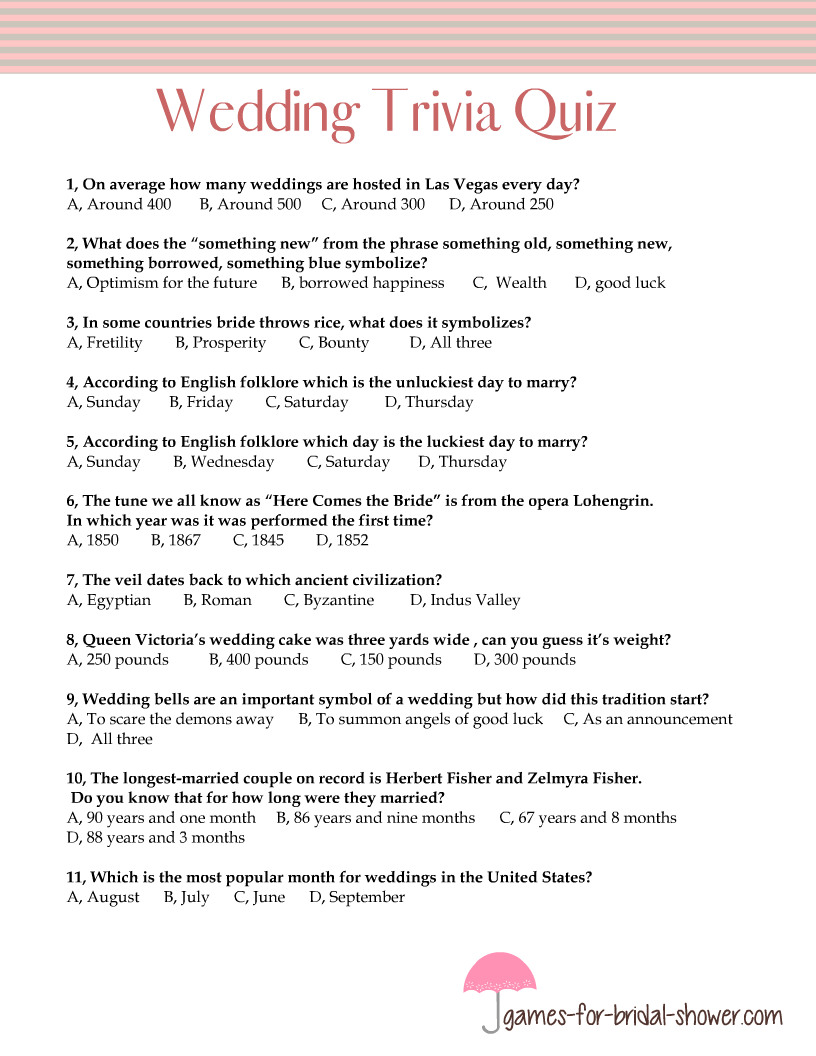 photo about Free Printable Black History Trivia Questions and Answers identified as Cost-free Printable Wedding day Trivia Quiz