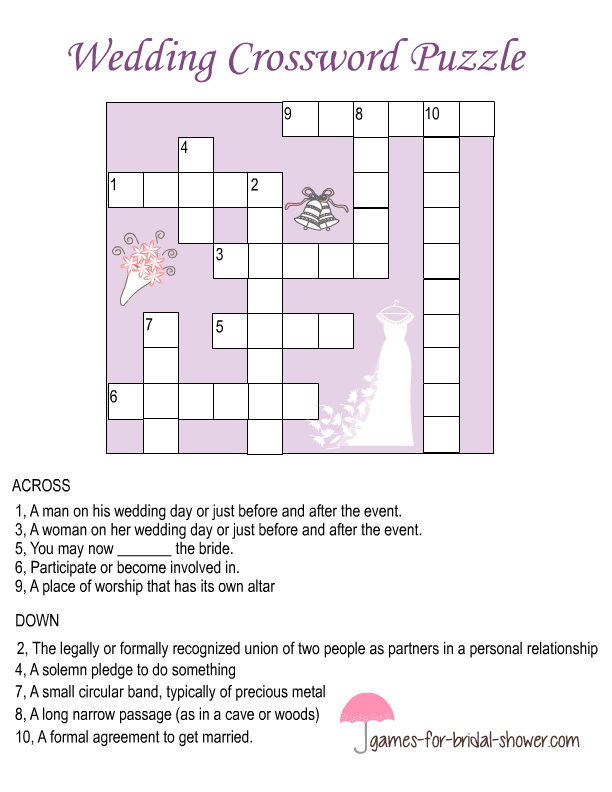 photo relating to Printable Celebrity Crossword Puzzles named Free of charge Printable Wedding ceremony Crossword Puzzle