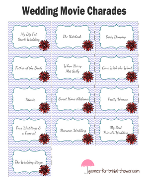 Free printable wedding movies charades in lilac color