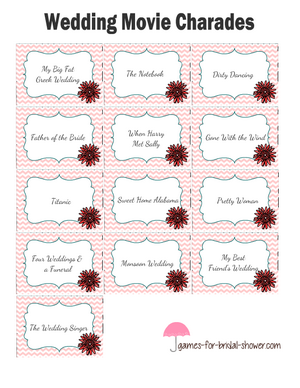 Free printable wedding movies charade cards in pink color