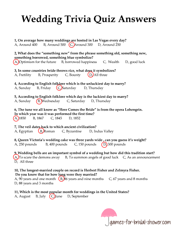 Free Printable Wedding Trivia Quiz