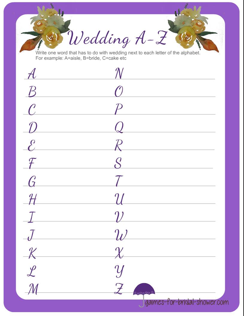 Wedding A-Z Game Printable for Bridal Shower