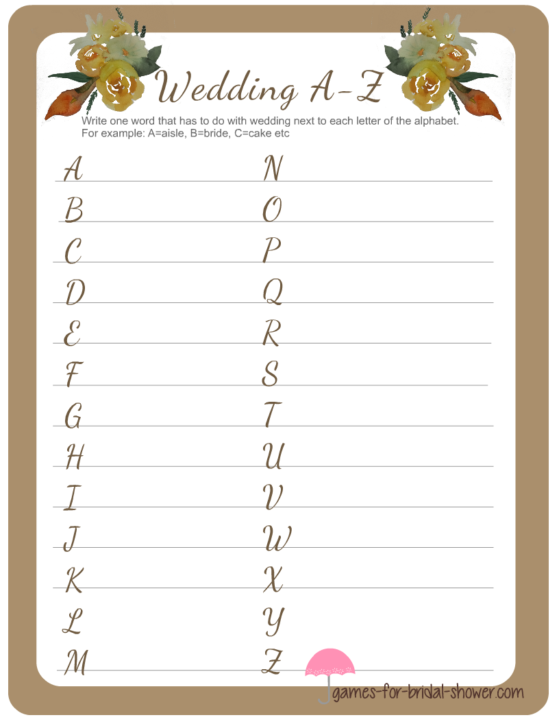 wedding a z game printable for bridal shower