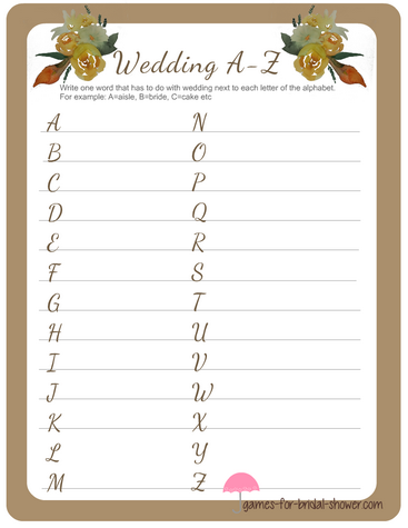 a to z alphabet game for bridal shower