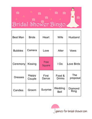 bridal shower bingo game in pink color