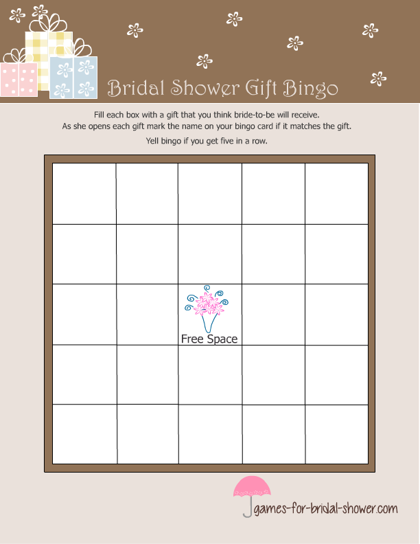 free printable gift bingo game for bridal shower