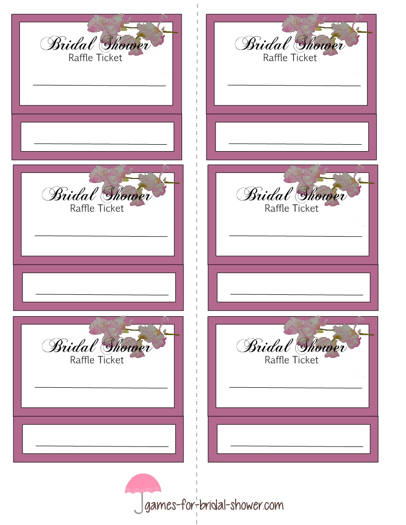 picture relating to Free Printable Tickets Template identified as Free of charge Printable Bridal Shower Raffle Tickets