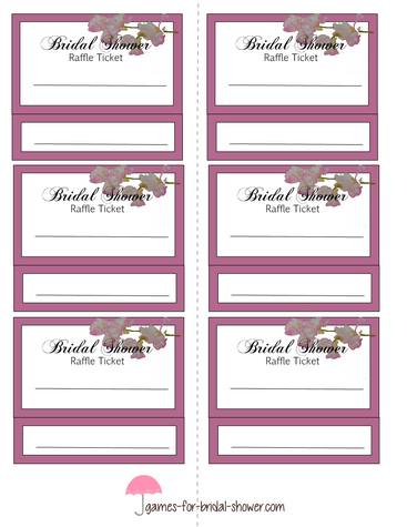 bridal shower raffle tickets template printable