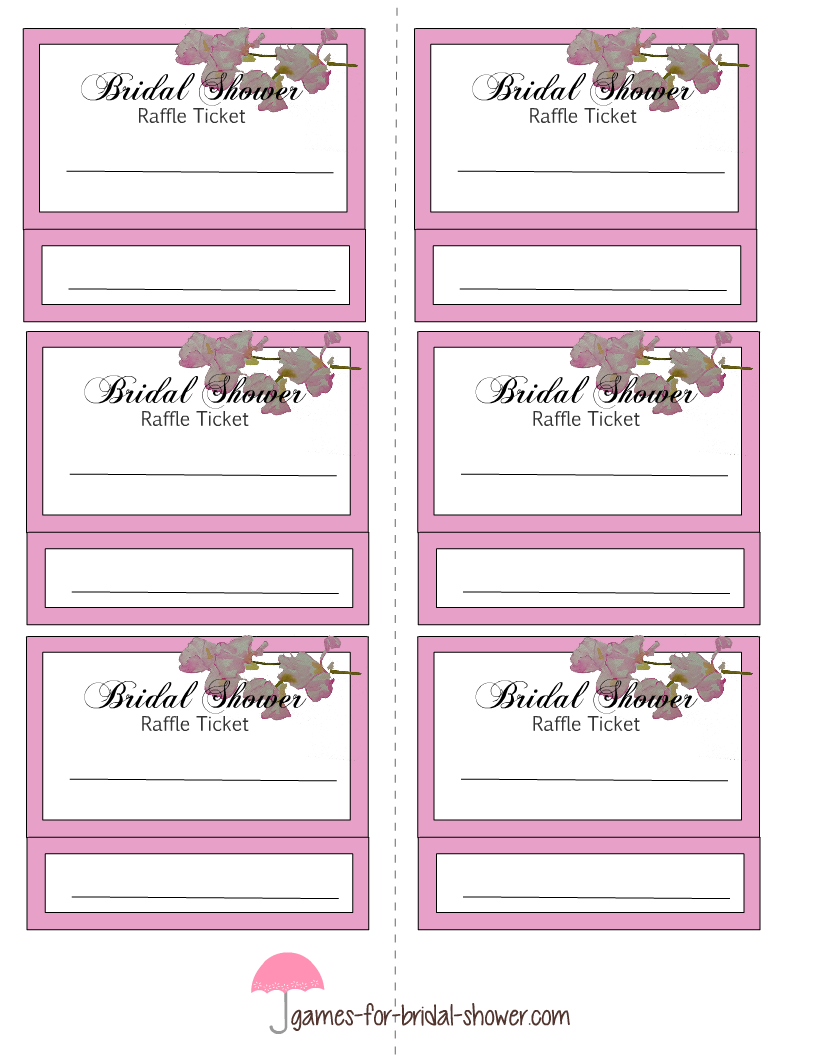 Free Printable Bridal Shower Raffle Tickets  Play Ticket Template