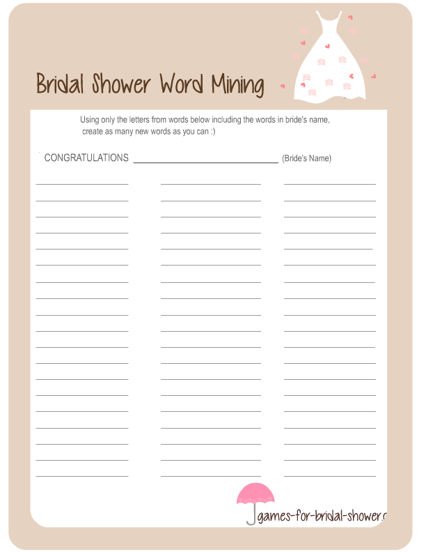 word mining game printable for bridal shower in brown color