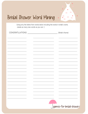 bridal shower word mining game in off-white color