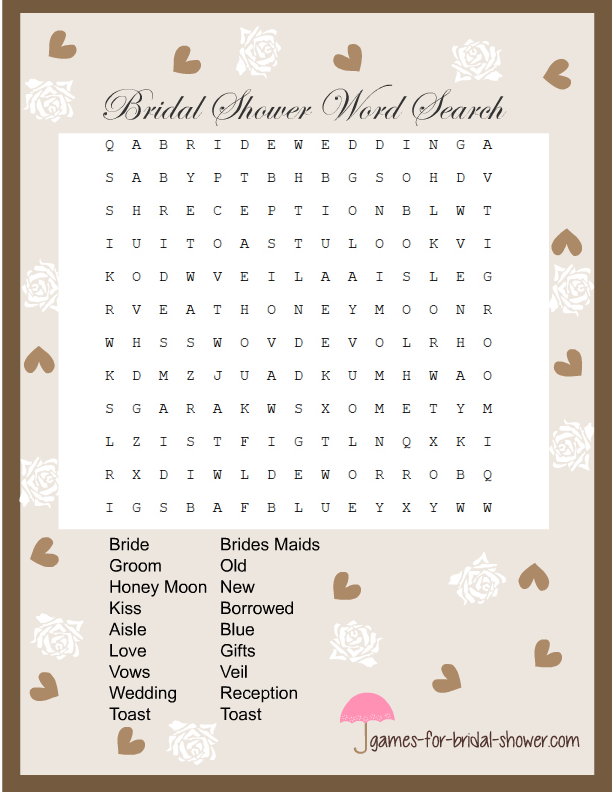 free printable bridal shower word search game