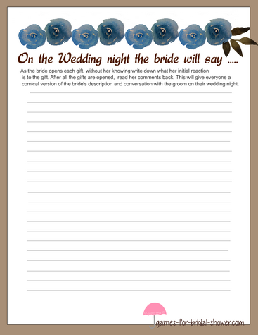 stationery for bride's description of the wedding night game