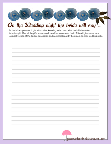 bride's description of the wedding night in lilac color