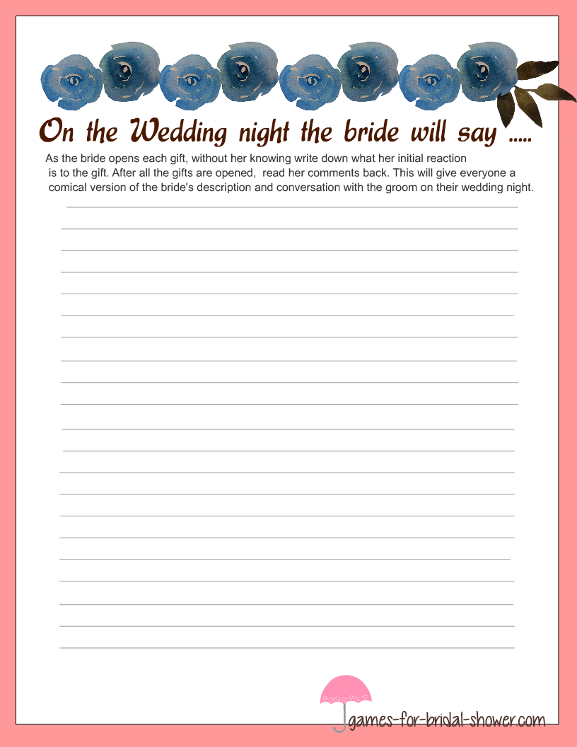 Stationery For Brides Description Of The Wedding Night Game