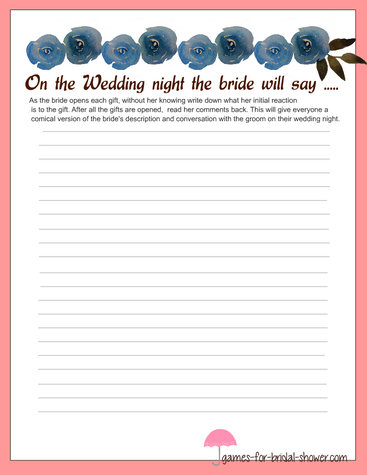 free printable stationery for bride's description of the wedding night