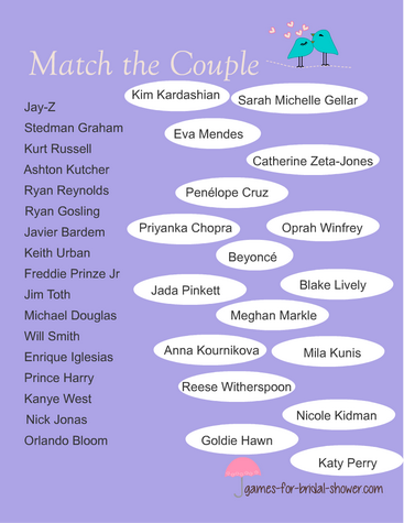 free printable celebrity couple matching game in lilac