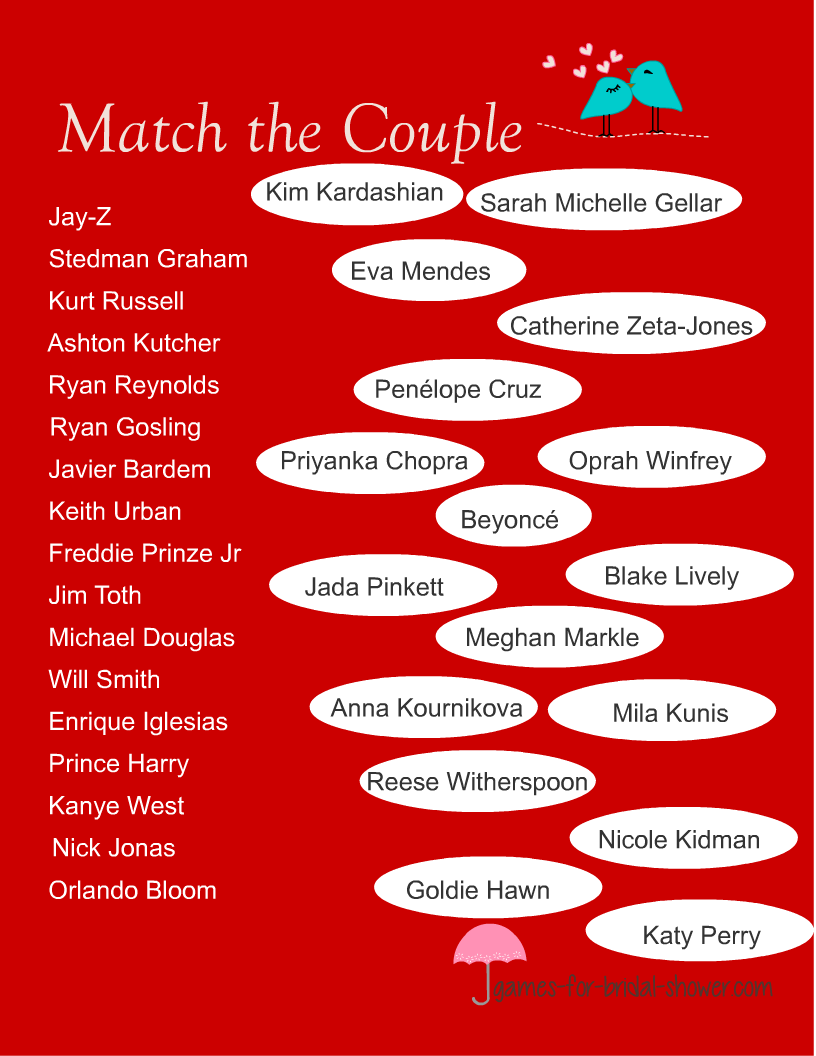 Free Printable Match the Famous Couples Game