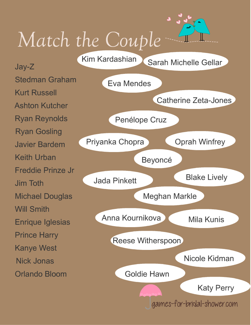 match the celebrity couple bridal shower game in brown color