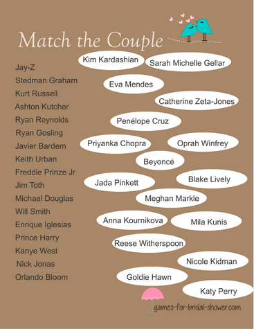 free printable match the celebrity couple game