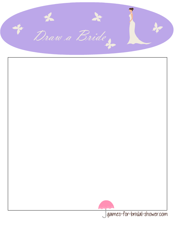 draw a bride bridal shower game in lilac