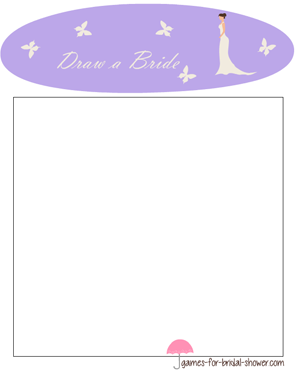 free printable draw a bride game in lilac color