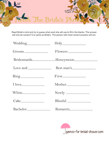 finish the bride's phrase game in pink color
