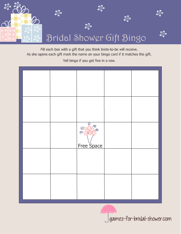 free printable bridal shower gift bingo game