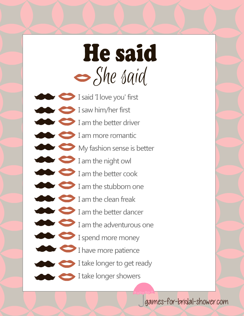 Free printable he said she said game 39 s template for He said she said bridal shower game template