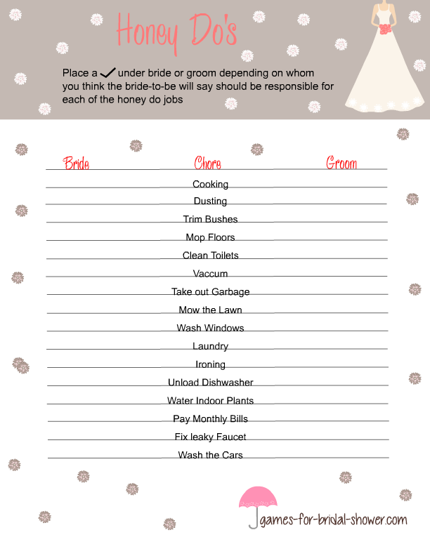 photograph regarding Free Printable Bridal Shower Games What's in Your Purse titled Free of charge Printable Honey Dos Recreation for Bridal Shower