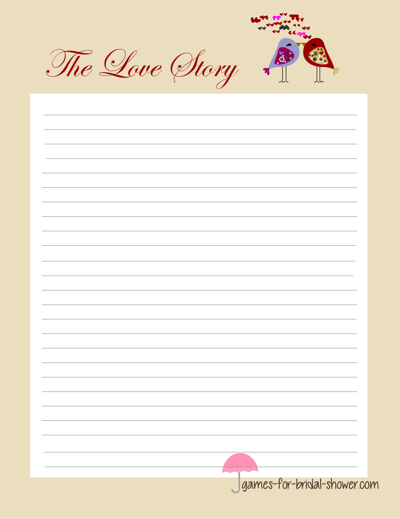 love story game for bridal shower