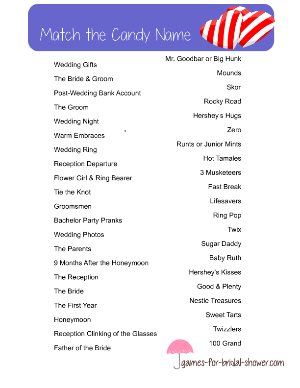 Free Printable Bridal Shower Games - 2 Images - Frompo