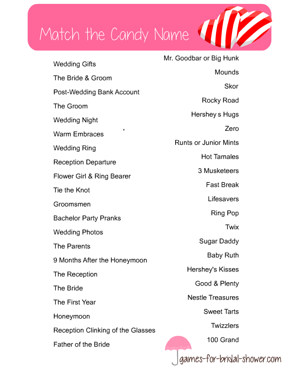 Free Printable Match The Candy Name Bridal Shower Game