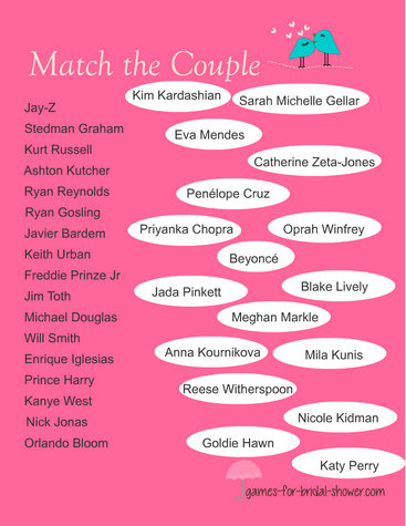 free printable match the famous couple game
