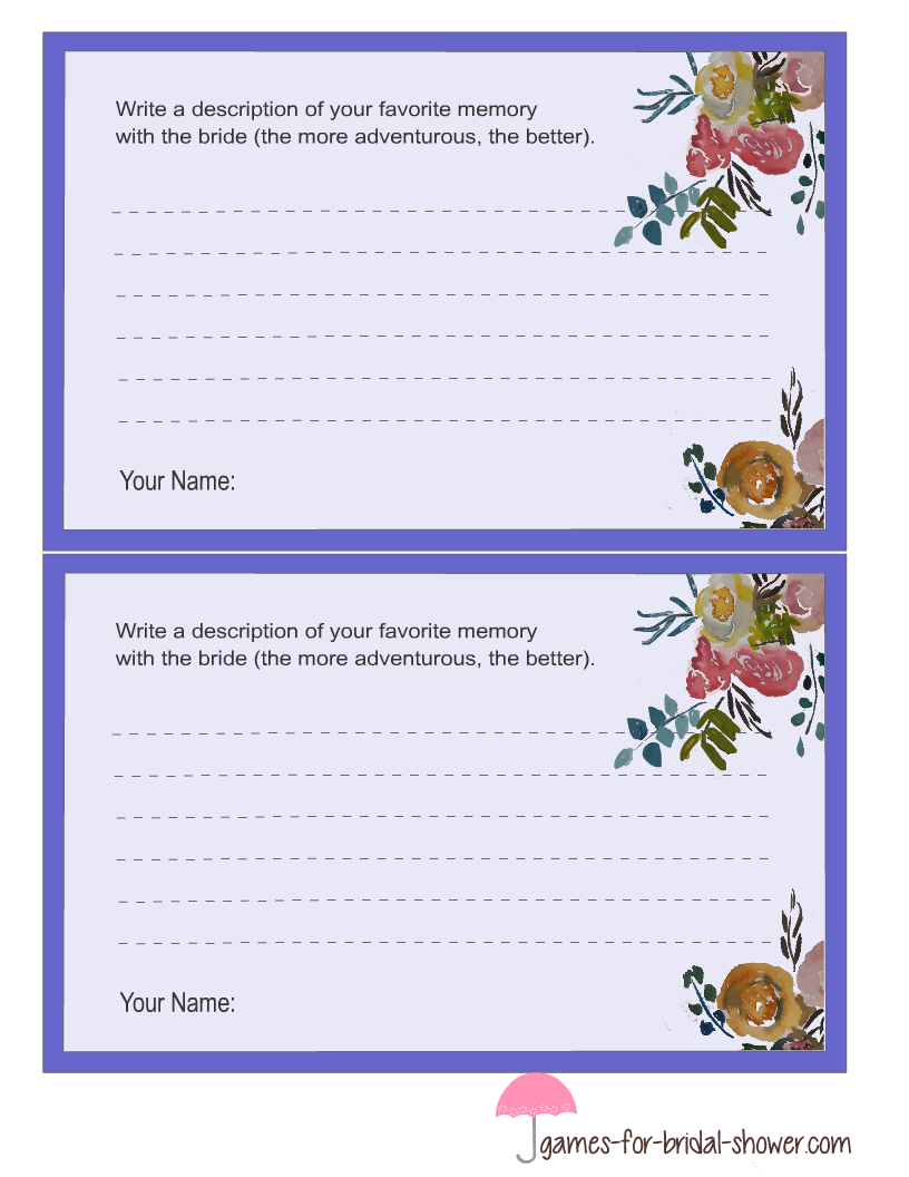 Free Printable Memory With The Bride Cards In Lilac