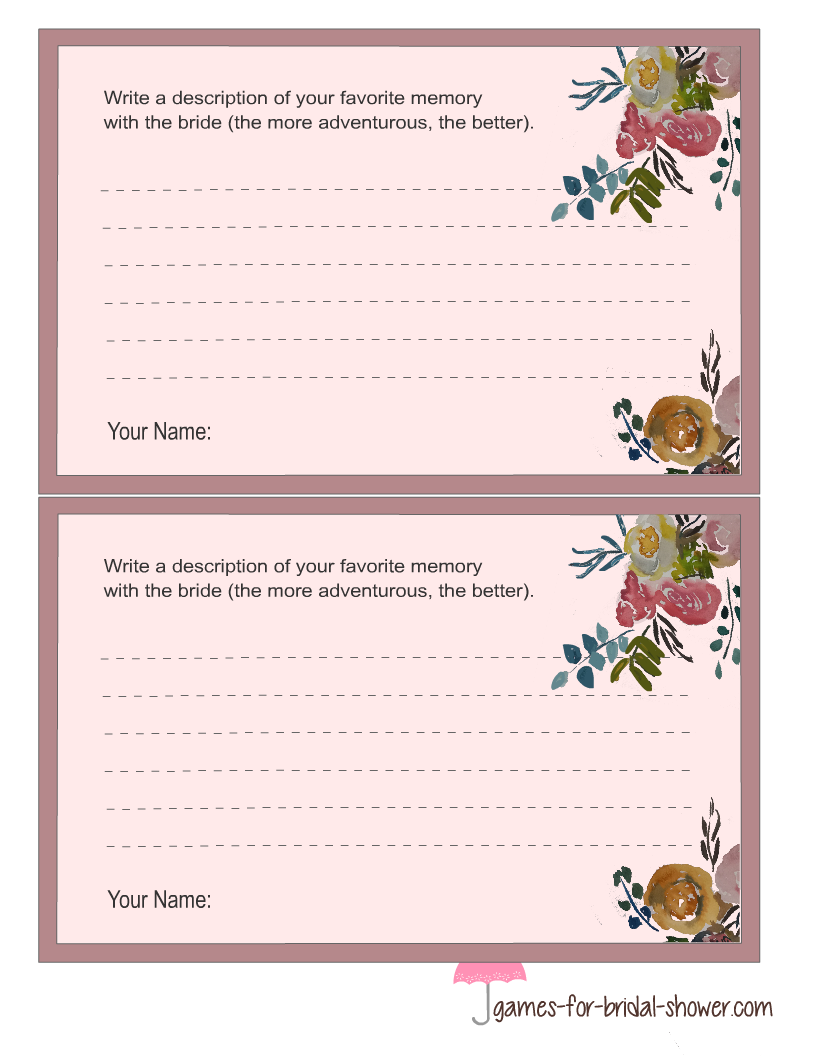 free printable bridal shower game cards in pink color