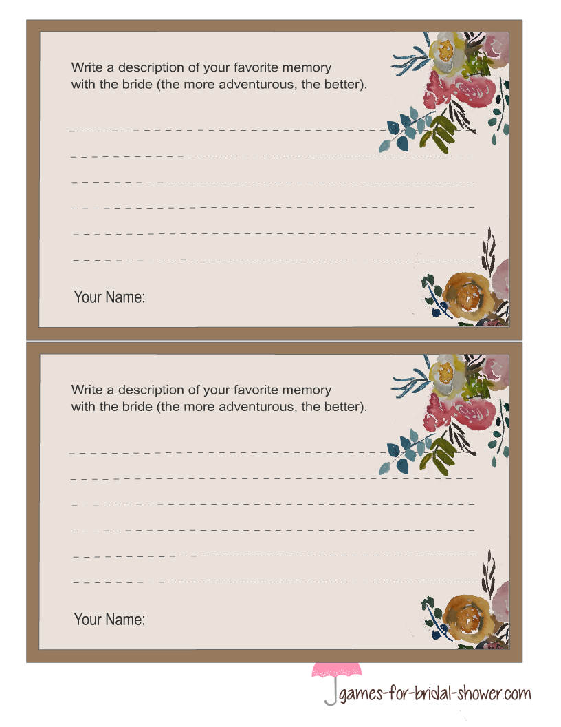 Free printable memory with the bride game cards for Templates for bridal shower games