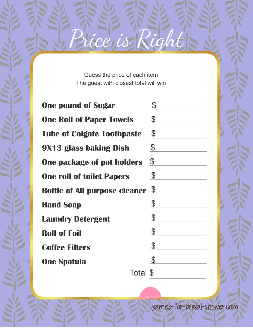 Free Printabel Price Is Right Bridal Shower Game