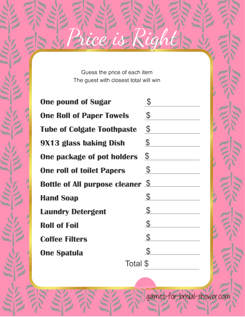 free printable price is right game for bridal shower in pink color