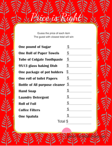 price is right bridal shower game template - free printabel price is right bridal shower game