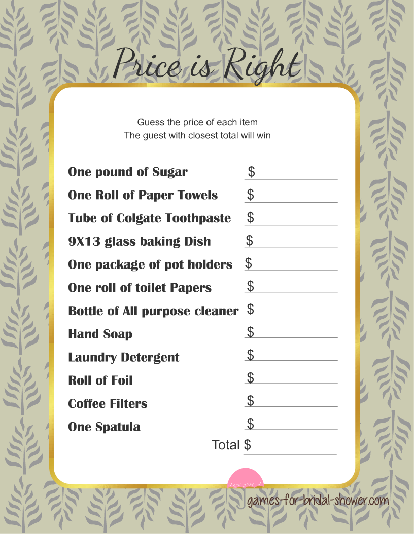 bridal shower guess the right price game