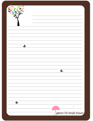 free printable stationery to play games in brown color