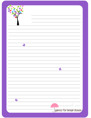 free printable stationery in lilac