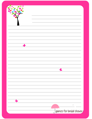 free printable bridal shower games stationery